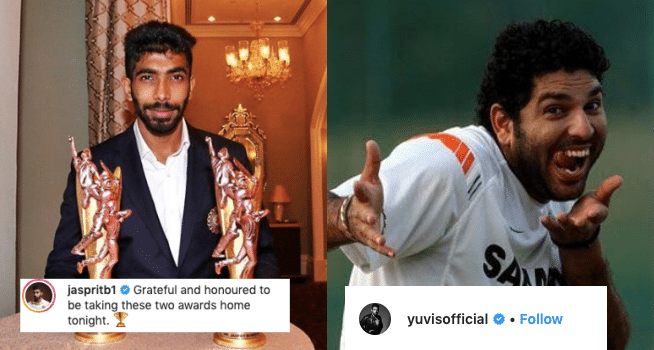 Yuvraj Singh Left a Sassy Reply on Bumrah's recent Instagram Post
