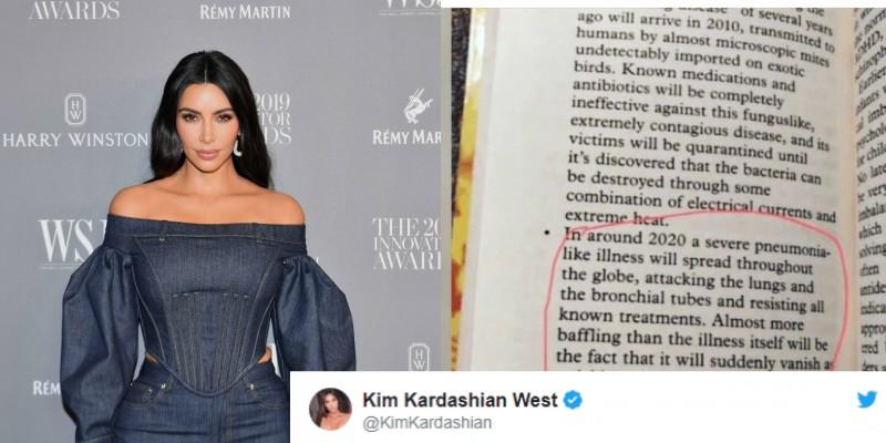 Kim Kardashian shares a picture of Sylvia Brownes predictions on Coronavirus